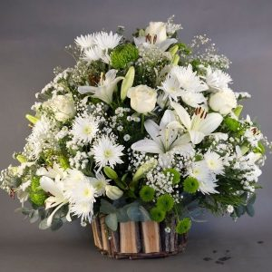 Florist White Mix Flower Basket