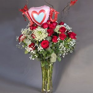 Large Glass Vase With Florist Mix Including Balloon
